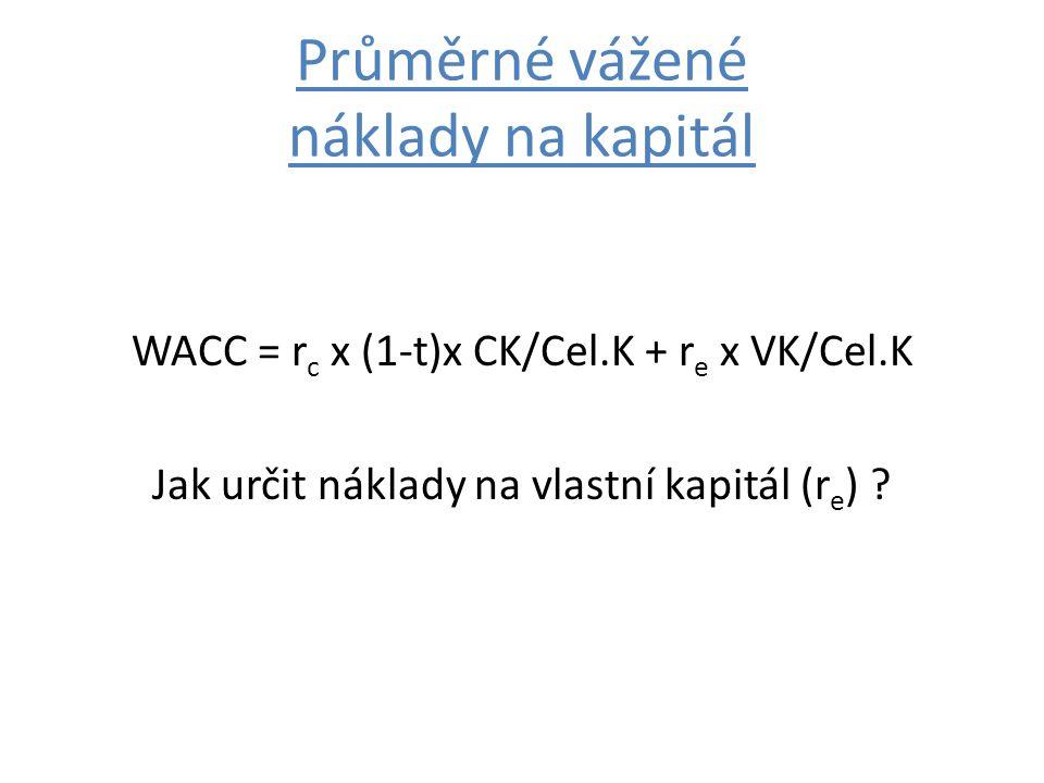 Průměrné vážené náklady na kapitál WACC = r c x (1-t)x CK/Cel.K + r e x VK/Cel.K Jak určit náklady na vlastní kapitál (r e ) ?