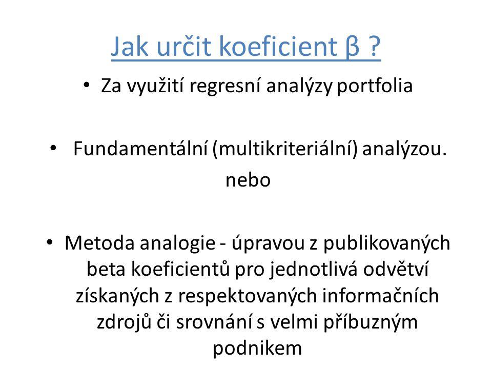Jak určit koeficient β ? Za využití regresní analýzy portfolia Fundamentální (multikriteriální) analýzou. nebo Metoda analogie - úpravou z publikovaný