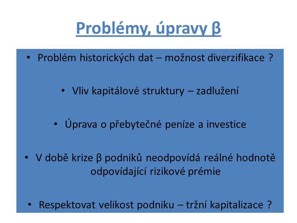 Problémy, úpravy β Problém historických dat – možnost diverzifikace ? Vliv kapitálové struktury – zadlužení Úprava o přebytečné peníze a investice V d