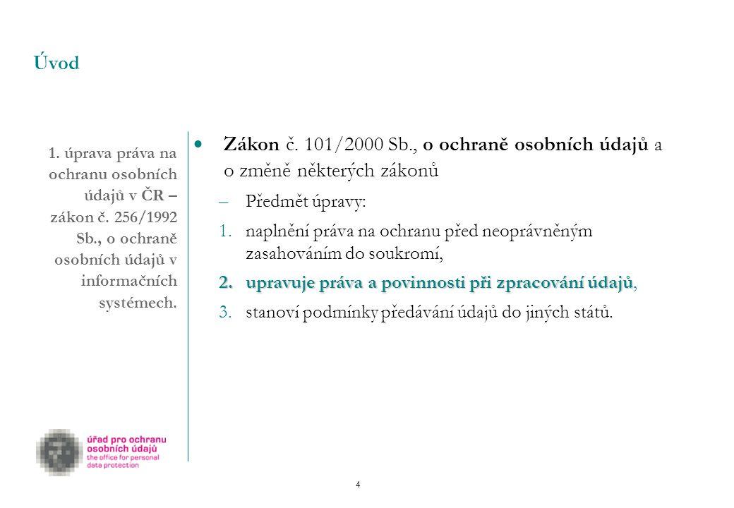 4 1.úprava práva na ochranu osobních údajů v ČR – zákon č.