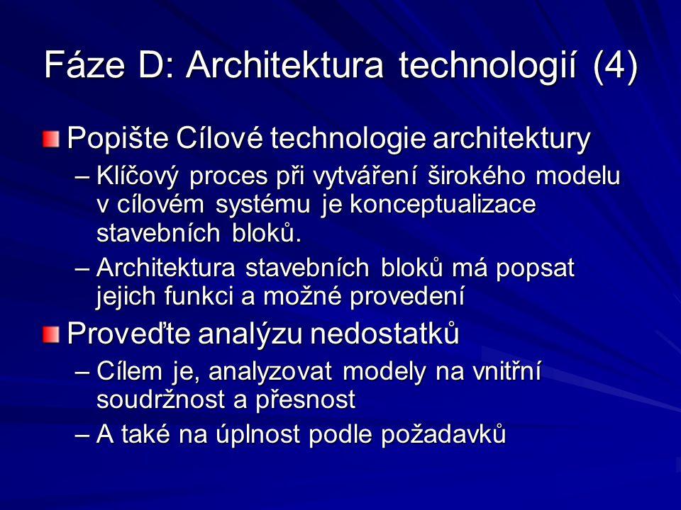 Fáze D: Architektura technologií (4) Popište Cílové technologie architektury –Klíčový proces při vytváření širokého modelu v cílovém systému je koncep