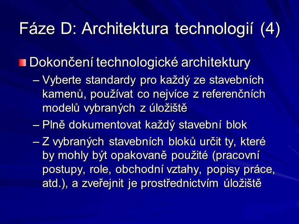 Fáze D: Architektura technologií (4) Dokončení technologické architektury –Vyberte standardy pro každý ze stavebních kamenů, používat co nejvíce z ref