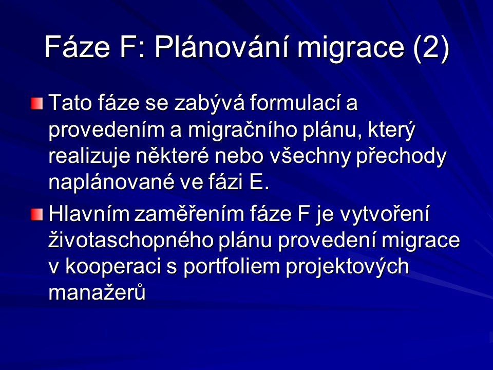 Fáze F: Plánování migrace (2) Tato fáze se zabývá formulací a provedením a migračního plánu, který realizuje některé nebo všechny přechody naplánované