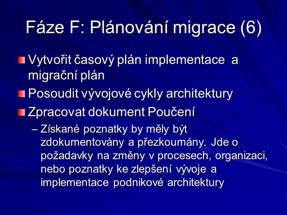 Fáze F: Plánování migrace (6) Vytvořit časový plán implementace a migrační plán Posoudit vývojové cykly architektury Zpracovat dokument Poučení –Získa