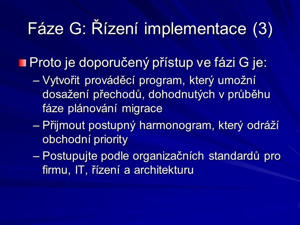 Fáze G: Řízení implementace (3) Proto je doporučený přístup ve fázi G je: –Vytvořit prováděcí program, který umožní dosažení přechodů, dohodnutých v p