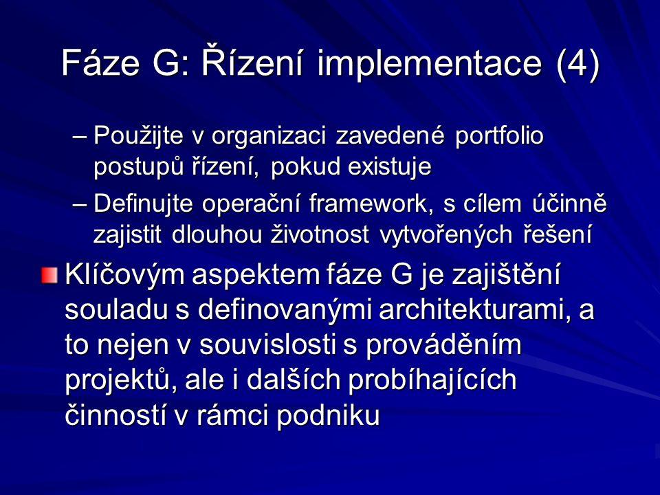 Fáze G: Řízení implementace (4) –Použijte v organizaci zavedené portfolio postupů řízení, pokud existuje –Definujte operační framework, s cílem účinně