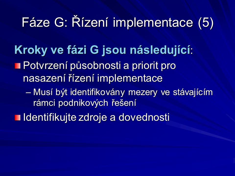 Fáze G: Řízení implementace (5) Kroky ve fázi G jsou následující : Potvrzení působnosti a priorit pro nasazení řízení implementace –Musí být identifik