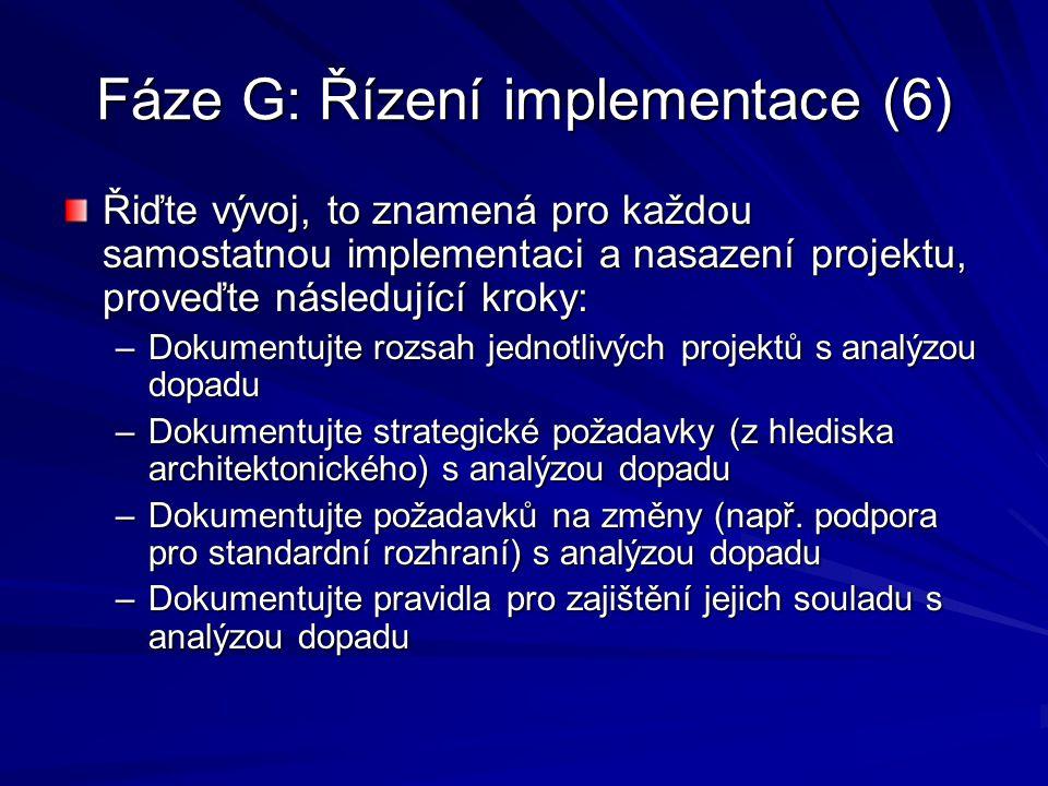 Fáze G: Řízení implementace (6) Řiďte vývoj, to znamená pro každou samostatnou implementaci a nasazení projektu, proveďte následující kroky: –Dokument