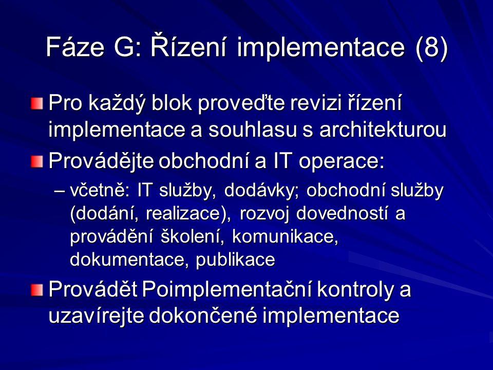 Fáze G: Řízení implementace (8) Pro každý blok proveďte revizi řízení implementace a souhlasu s architekturou Provádějte obchodní a IT operace: –včetn