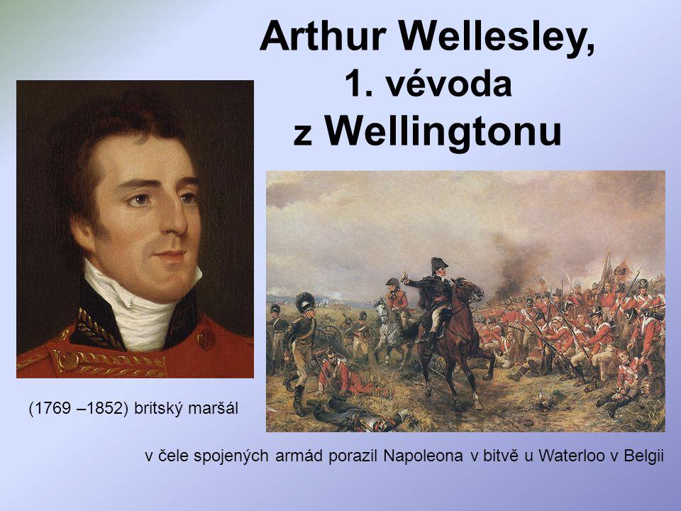 Arthur Wellesley, 1. vévoda z Wellingtonu v čele spojených armád porazil Napoleona v bitvě u Waterloo v Belgii (1769 –1852) britský maršál