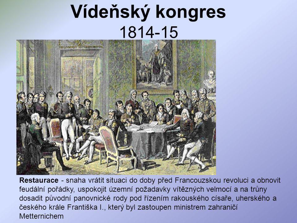 Vídeňský kongres 1814-15 Restaurace - snaha vrátit situaci do doby před Francouzskou revoluci a obnovit feudální pořádky, uspokojit územní požadavky v