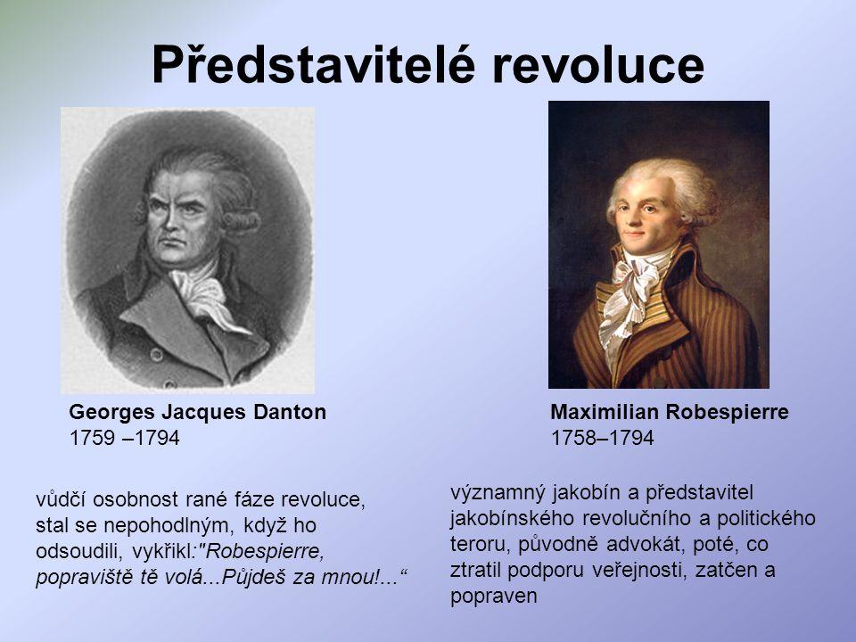 Představitelé revoluce Georges Jacques Danton 1759 –1794 vůdčí osobnost rané fáze revoluce, stal se nepohodlným, když ho odsoudili, vykřikl:
