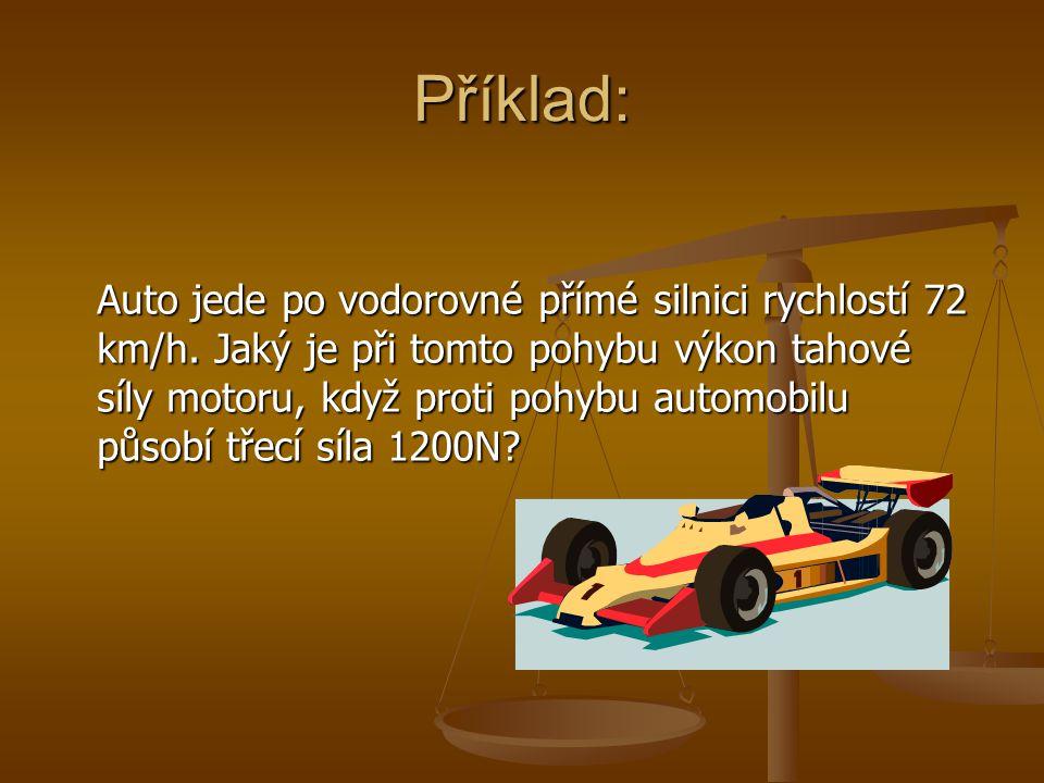 Příklad: Auto jede po vodorovné přímé silnici rychlostí 72 km/h.