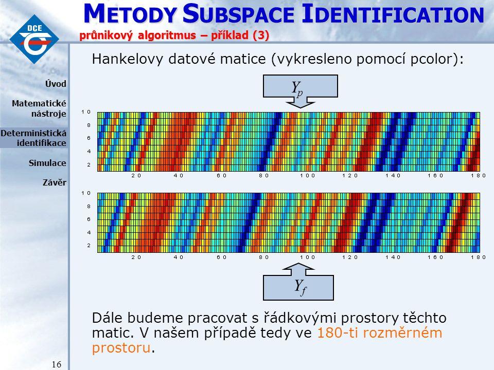 M ETODY S UBSPACE I DENTIFICATION 16 průnikový algoritmus – příklad (3) Dále budeme pracovat s řádkovými prostory těchto matic.