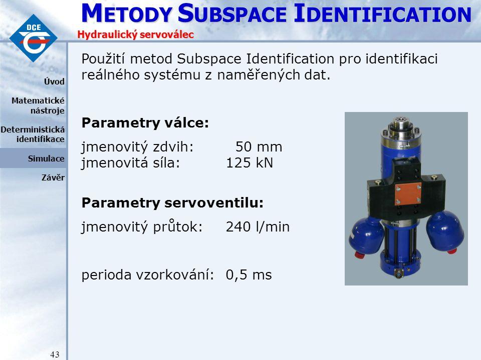 M ETODY S UBSPACE I DENTIFICATION 43 Hydraulický servoválec Úvod Matematické nástroje Deterministická identifikace Simulace Závěr Použití metod Subspace Identification pro identifikaci reálného systému z naměřených dat.