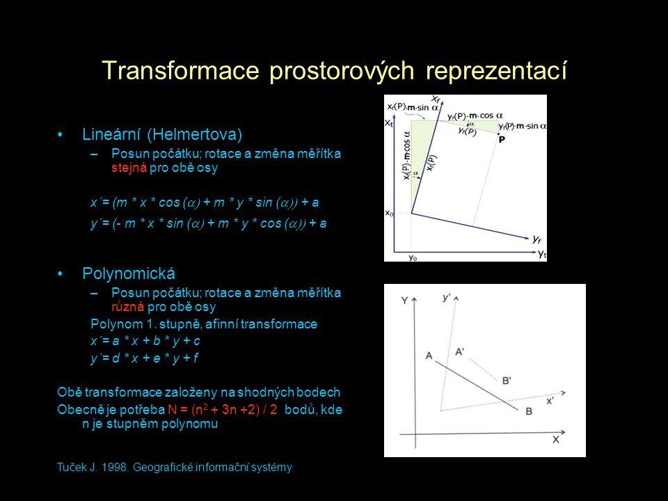 Tuček J. 1998. Geografické informační systémy Transformace prostorových reprezentací Lineární (Helmertova) –Posun počátku; rotace a změna měřítka stej