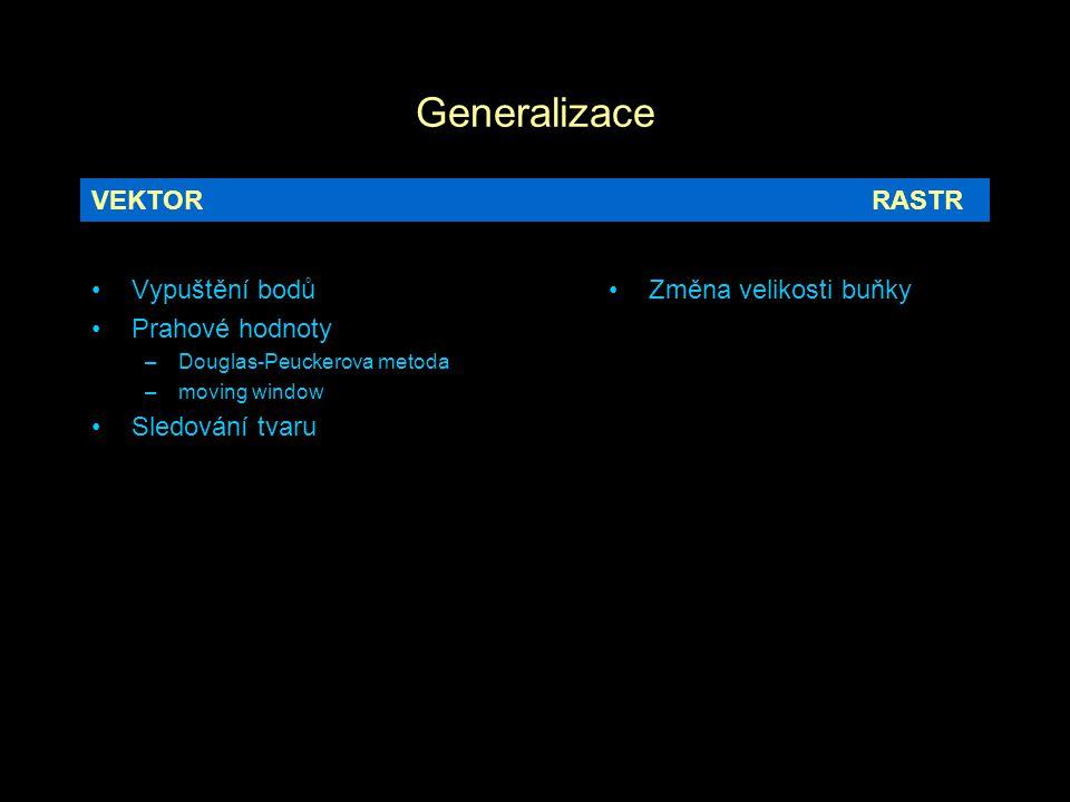 Generalizace Vypuštění bodů Prahové hodnoty –Douglas-Peuckerova metoda –moving window Sledování tvaru Změna velikosti buňky VEKTORRASTR