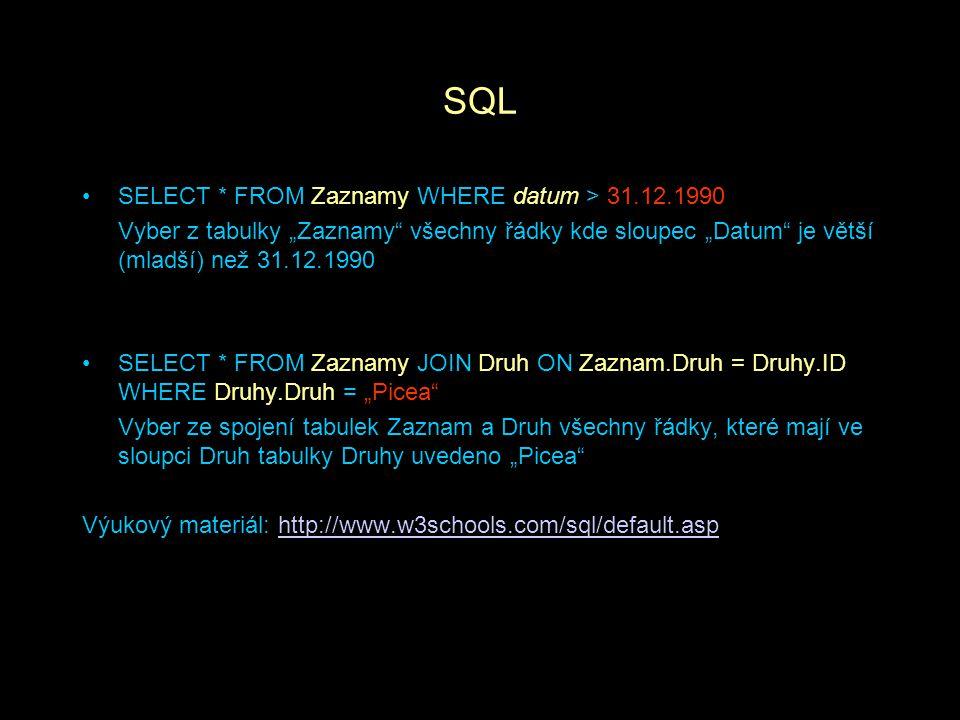 """SQL SELECT * FROM Zaznamy WHERE datum > 31.12.1990 Vyber z tabulky """"Zaznamy"""" všechny řádky kde sloupec """"Datum"""" je větší (mladší) než 31.12.1990 SELECT"""