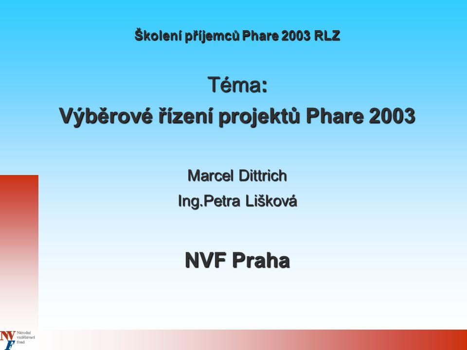 Školení příjemců Phare 2003 RLZ Téma: Výběrové řízení projektů Phare 2003 Marcel Dittrich Ing.Petra Lišková NVF Praha