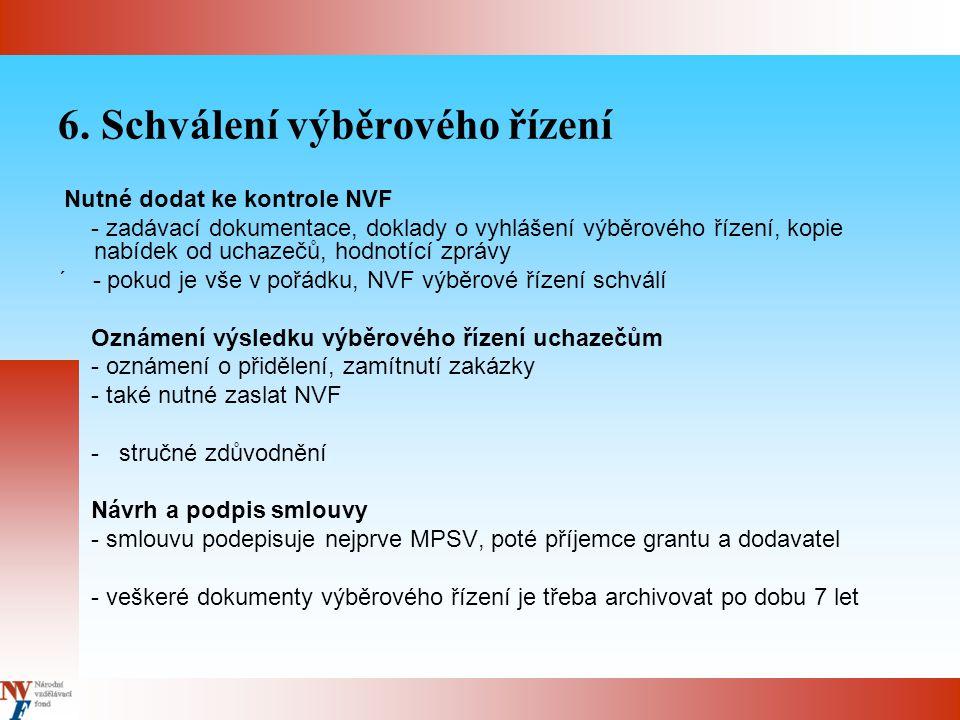 6. Schválení výběrového řízení Nutné dodat ke kontrole NVF - zadávací dokumentace, doklady o vyhlášení výběrového řízení, kopie nabídek od uchazečů, h