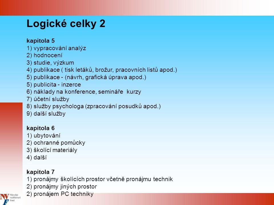 Logické celky 2 kapitola 5 1) vypracování analýz 2) hodnocení 3) studie, výzkum 4) publikace ( tisk letáků, brožur, pracovních listů apod.) 5) publika