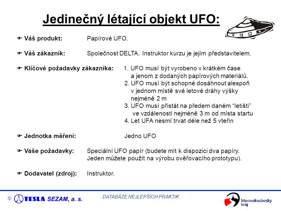 © DATABÁZE NEJLEPŠÍCH PRAKTIK Jedinečný létající objekt UFO:  Váš produkt:Papírové UFO.