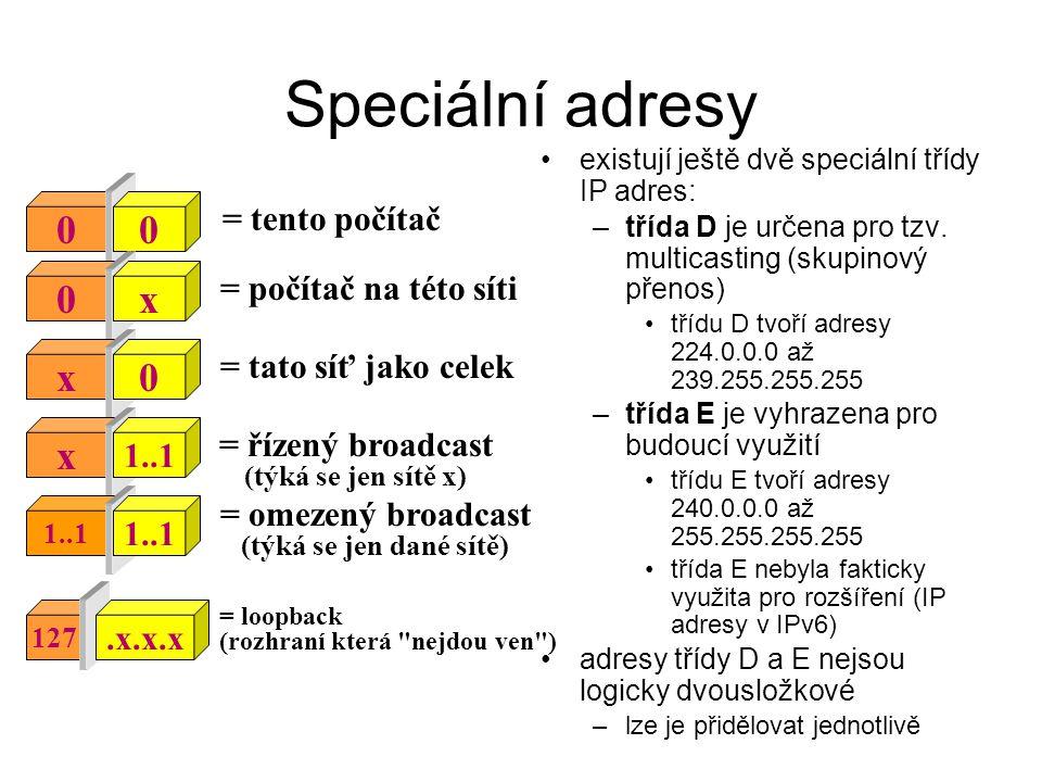 Speciální adresy existují ještě dvě speciální třídy IP adres: –třída D je určena pro tzv. multicasting (skupinový přenos) třídu D tvoří adresy 224.0.0