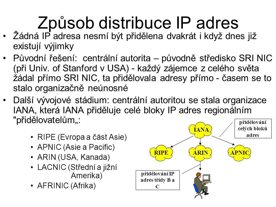 Způsob distribuce IP adres Žádná IP adresa nesmí být přidělena dvakrát i když dnes již existují výjimky Původní řešení: centrální autorita – původně s