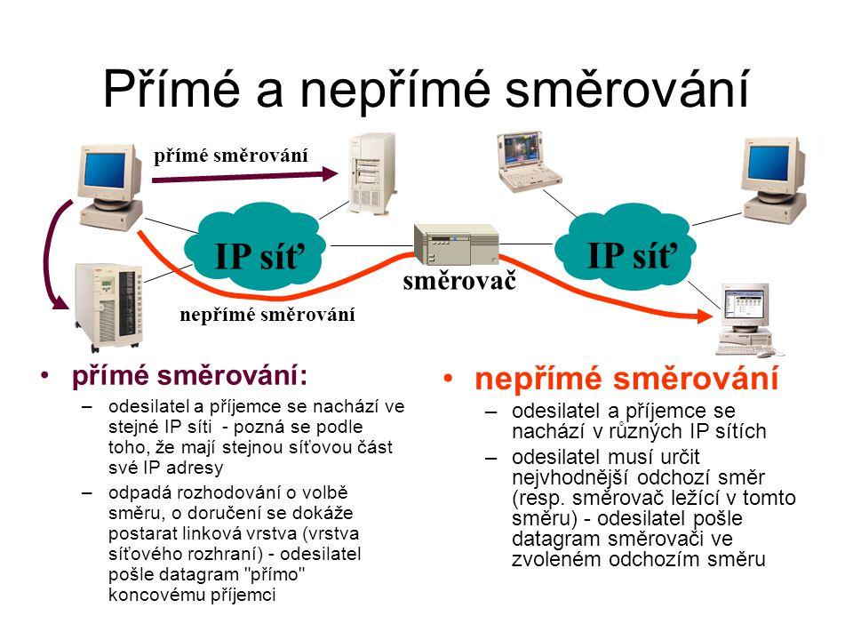 Přímé a nepřímé směrování přímé směrování: –odesilatel a příjemce se nachází ve stejné IP síti - pozná se podle toho, že mají stejnou síťovou část své