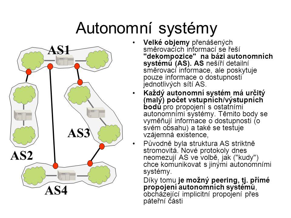 Autonomní systémy Velké objemy přenášených směrovacích informací se řeší