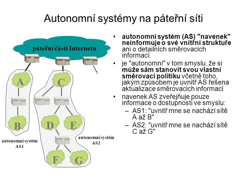 Autonomní systémy na páteřní síti autonomní systém (AS)