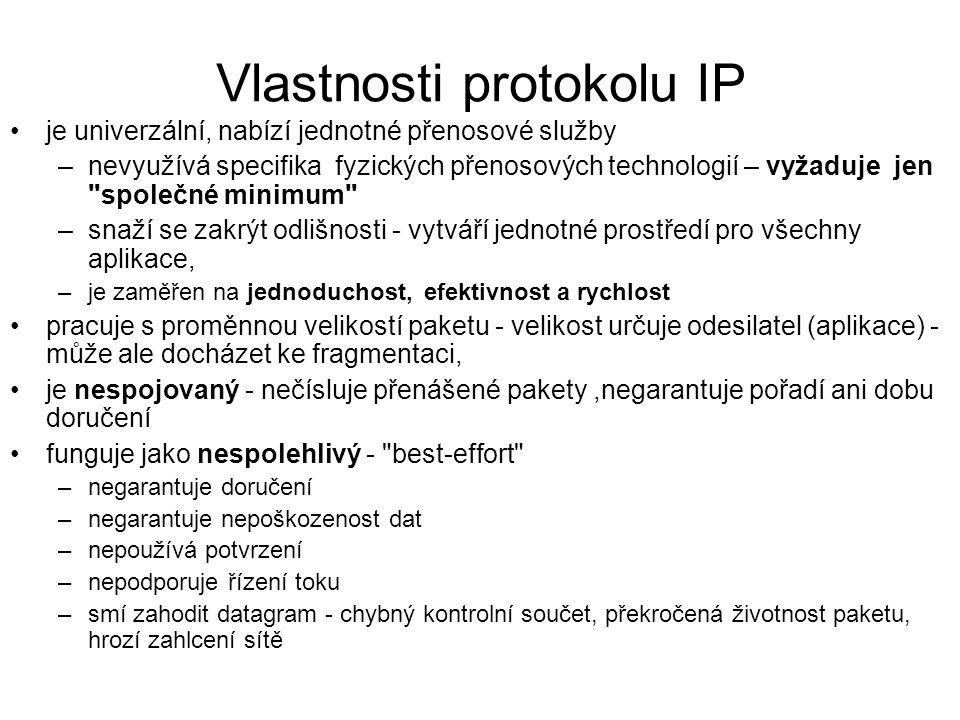 Vlastnosti protokolu IP je univerzální, nabízí jednotné přenosové služby –nevyužívá specifika fyzických přenosových technologií – vyžaduje jen