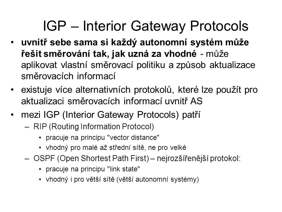 IGP – Interior Gateway Protocols uvnitř sebe sama si každý autonomní systém může řešit směrování tak, jak uzná za vhodné - může aplikovat vlastní směr