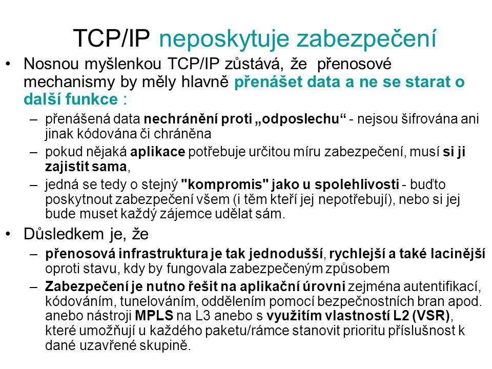 TCP/IP neposkytuje zabezpečení Nosnou myšlenkou TCP/IP zůstává, že přenosové mechanismy by měly hlavně přenášet data a ne se starat o další funkce : –