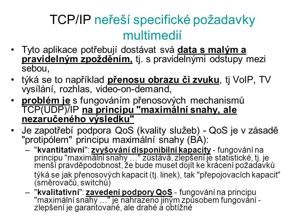 TCP/IP neřeší specifické požadavky multimedií Tyto aplikace potřebují dostávat svá data s malým a pravidelným zpožděním, tj. s pravidelnými odstupy me