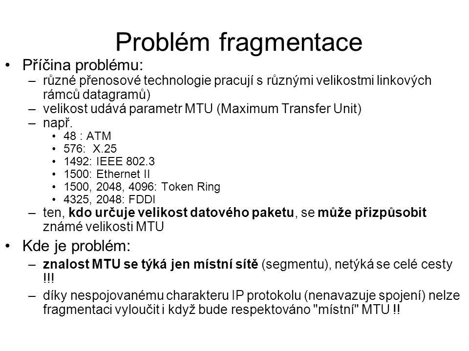 Problém fragmentace Příčina problému: –různé přenosové technologie pracují s různými velikostmi linkových rámců datagramů) –velikost udává parametr MT