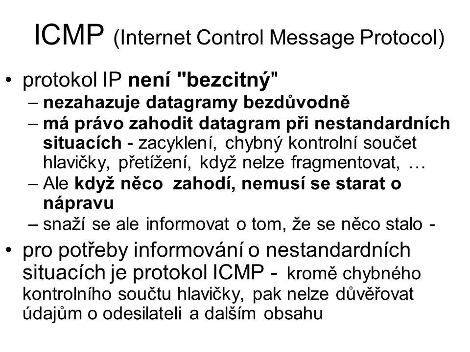 ICMP (Internet Control Message Protocol) protokol IP není