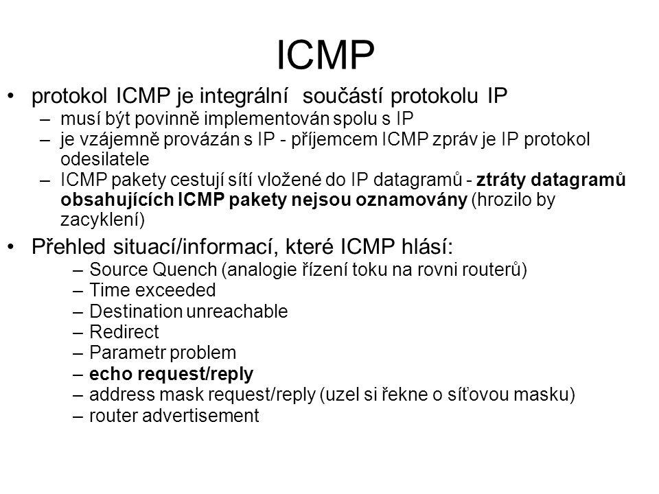 ICMP protokol ICMP je integrální součástí protokolu IP –musí být povinně implementován spolu s IP –je vzájemně provázán s IP - příjemcem ICMP zpráv je