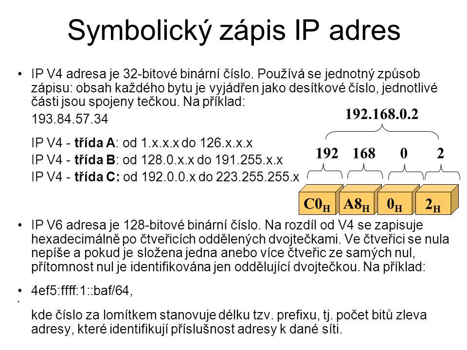 Symbolický zápis IP adres IP V4 adresa je 32-bitové binární číslo. Používá se jednotný způsob zápisu: obsah každého bytu je vyjádřen jako desítkové čí
