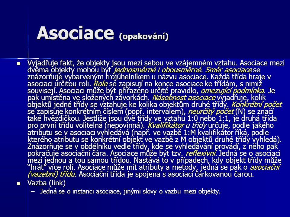 Asociace (opakování) Vyjadřuje fakt, že objekty jsou mezi sebou ve vzájemném vztahu. Asociace mezi dvěma objekty mohou být jednosměrné i obousměrné. S