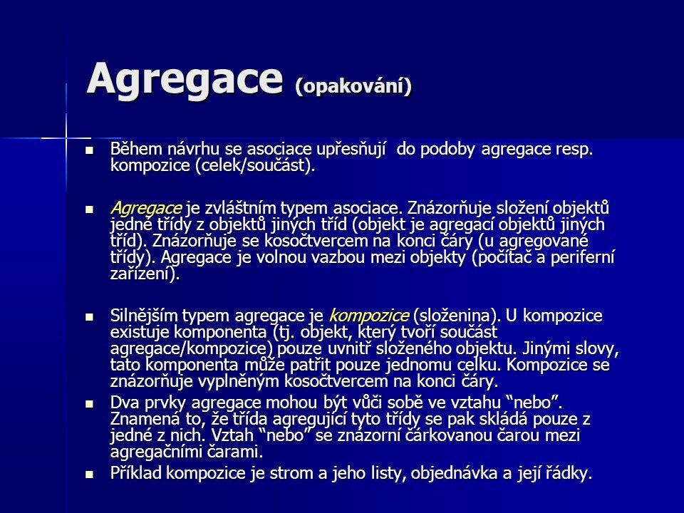 Agregace (opakování) Během návrhu se asociace upřesňují do podoby agregace resp. kompozice (celek/součást). Během návrhu se asociace upřesňují do podo