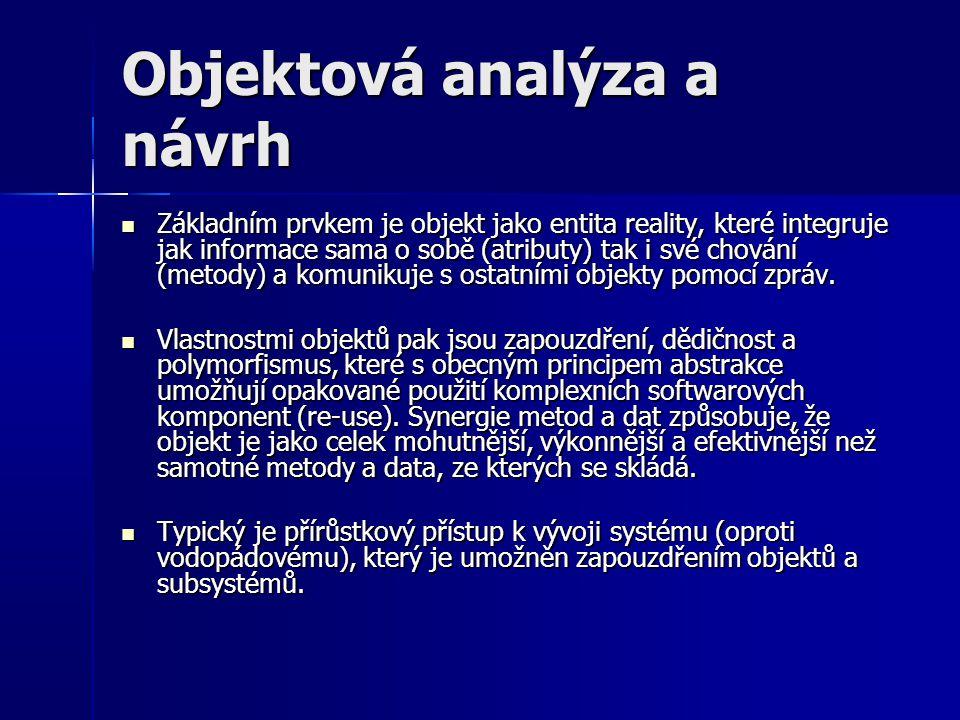 Objektová analýza a návrh Základním prvkem je objekt jako entita reality, které integruje jak informace sama o sobě (atributy) tak i své chování (meto