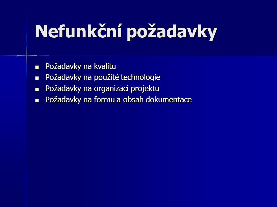 Nefunkční požadavky Požadavky na kvalitu Požadavky na kvalitu Požadavky na použité technologie Požadavky na použité technologie Požadavky na organizac