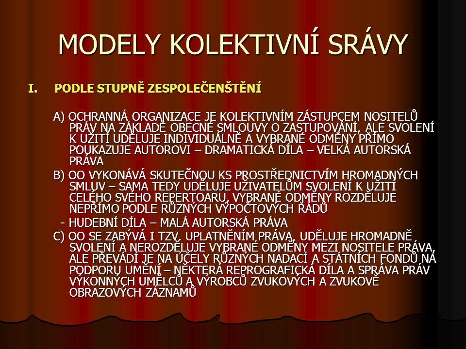 MODELY KOLEKTIVNÍ SRÁVY I.