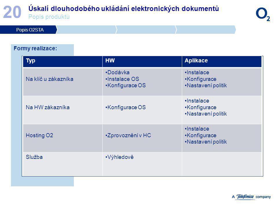 Úskalí dlouhodobého ukládání elektronických dokumentů Popis produktu 20 Formy realizace: TypHWAplikace Na klíč u zákazníka Dodávka Instalace OS Konfig