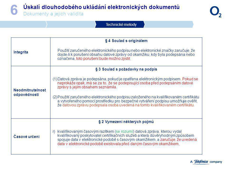 Úskalí dlouhodobého ukládání elektronických dokumentů Dokumenty a jejich validita 6 Technické metody Integrita § 4 Soulad s originálem Použití zaručen
