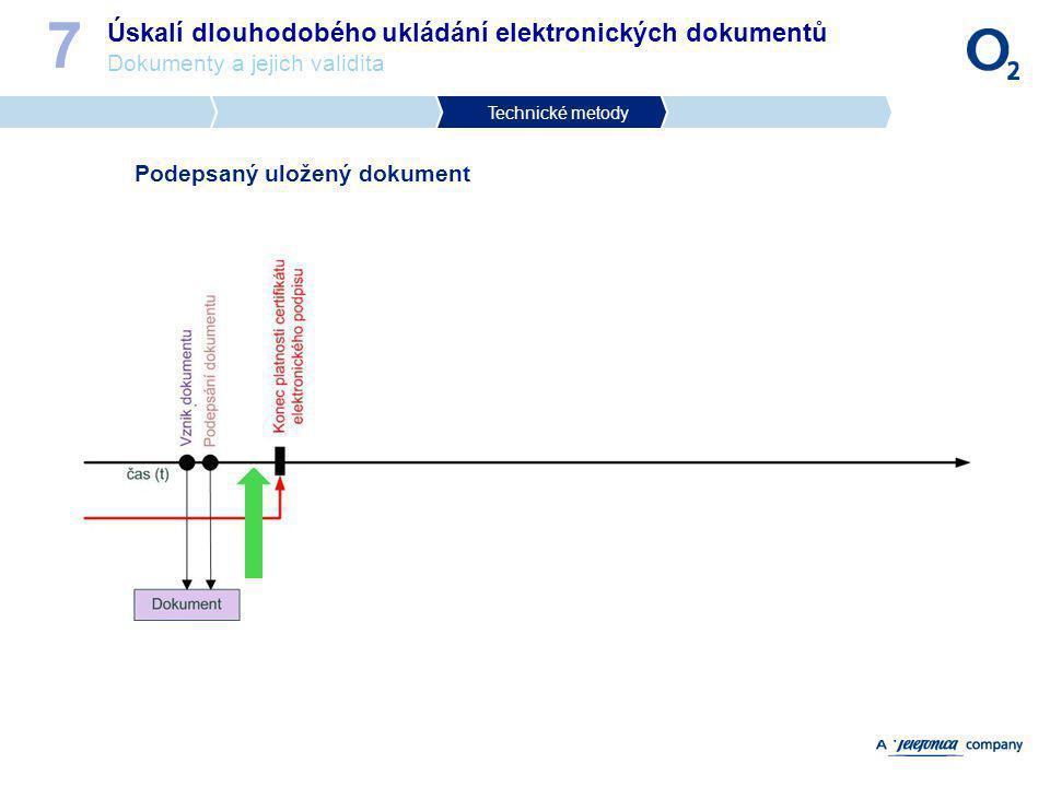 Úskalí dlouhodobého ukládání elektronických dokumentů Dokumenty a jejich validita 7 Podepsaný uložený dokument Technické metody