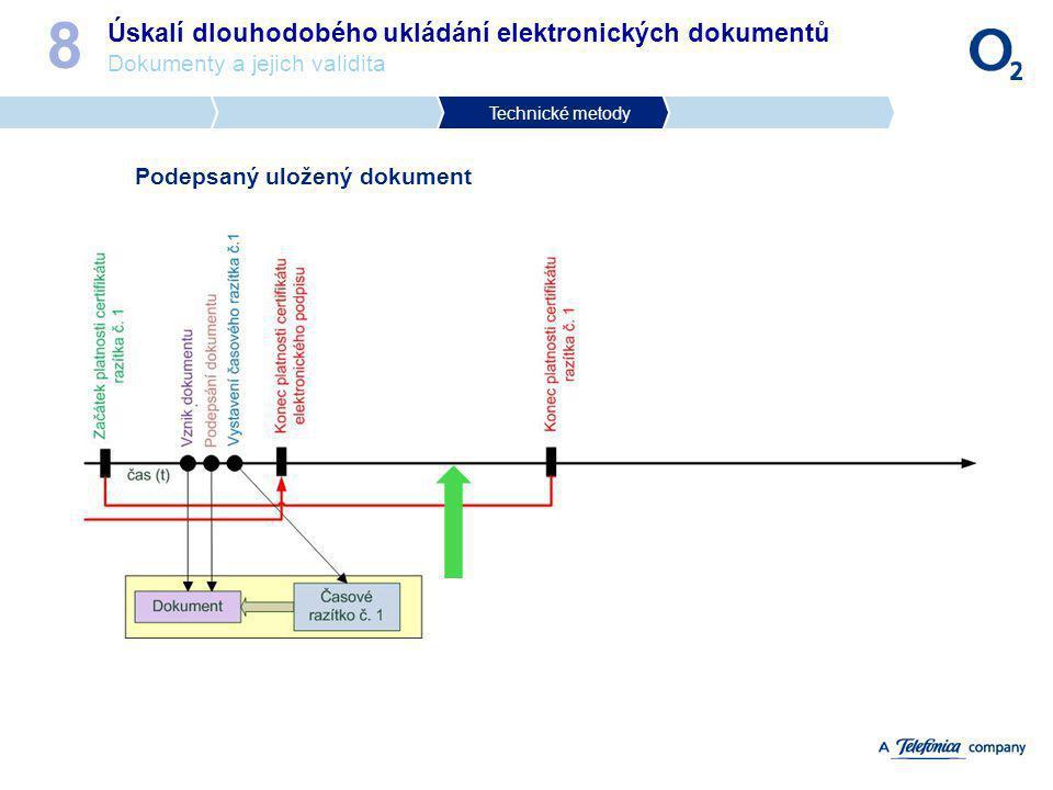 Úskalí dlouhodobého ukládání elektronických dokumentů Dokumenty a jejich validita 8 Podepsaný uložený dokument Technické metody