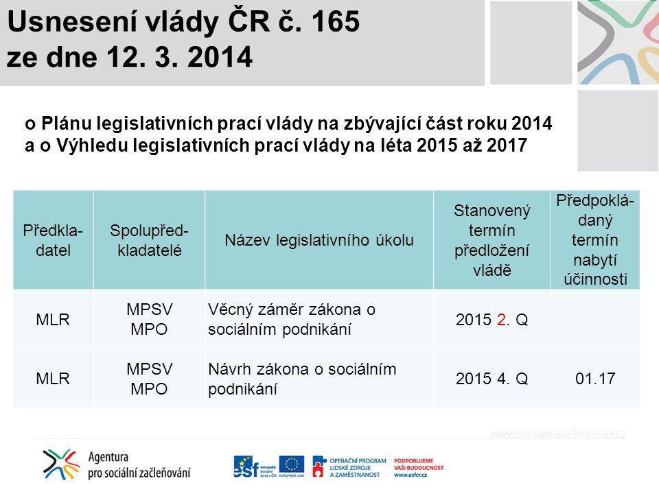 Usnesení vlády ČR č. 165 ze dne 12. 3. 2014 o Plánu legislativních prací vlády na zbývající část roku 2014 a o Výhledu legislativních prací vlády na l