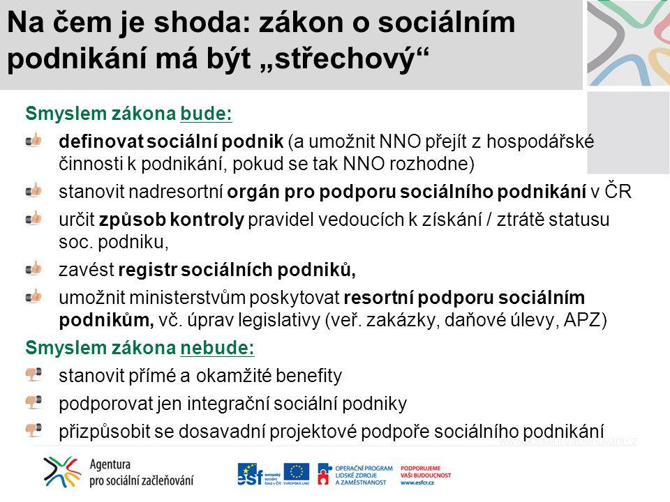 """Na čem je shoda: zákon o sociálním podnikání má být """"střechový"""" Smyslem zákona bude: definovat sociální podnik (a umožnit NNO přejít z hospodářské čin"""